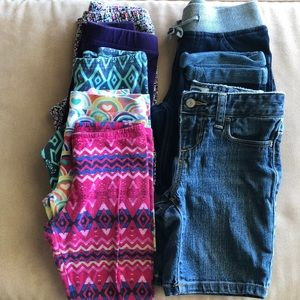 Other - (7) girls leggings, jeans and shorts. Size 6/7